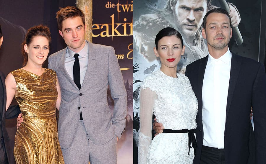 Kristen Stewart and Robert Pattinson on the red carpet in 2012 / Liberty Ross and Rupert Sanders on the red carpet in 2012