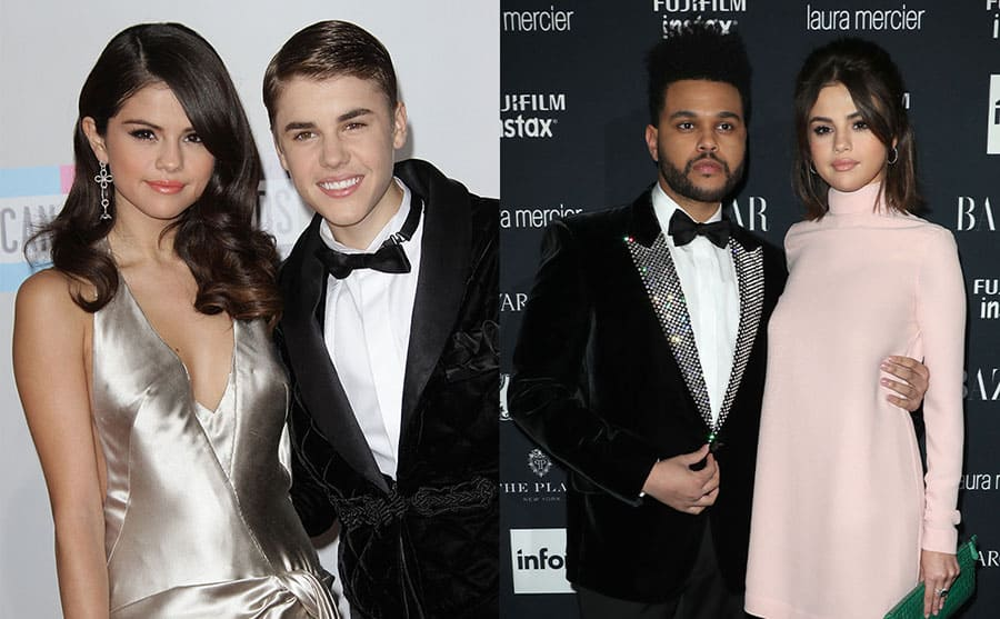 Selena Gomez and Justin Bieber on the red carpet in 2011 / The Weeknd and Selena Gomez on the red carpet in 2017
