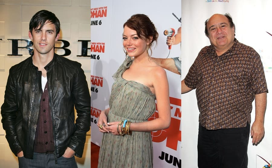 Milo Ventimiglia on the red carpet in 2008 / Emma Stone on the red carpet in 2008 / Danny DeVito on the red carpet in 2008