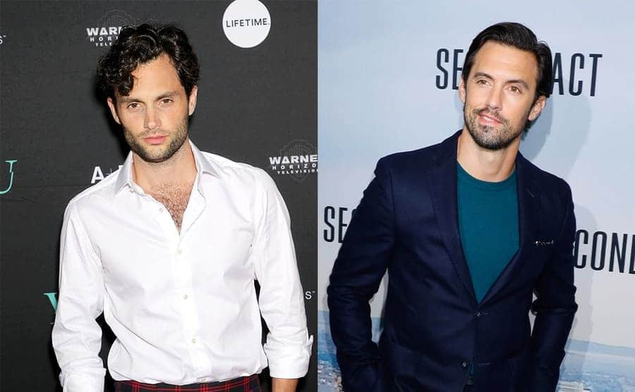 Penn Badgley on the red carpet / Milo Ventimiglia on the red carpet