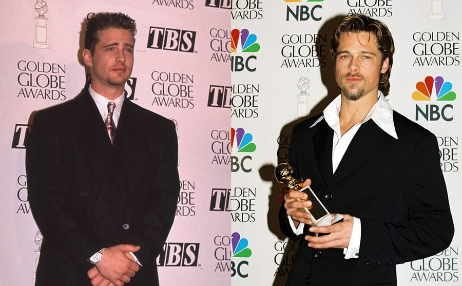 Jason Priestley at the Golden Globe awards in 1994 / Brad Pitt holding his Golden Globe award on the red carpet in 1996