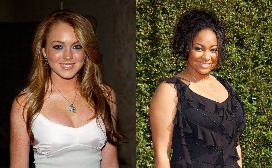Lindsay Lohan on the red carpet in 2003 / Raven Symone on the red carpet in 2005