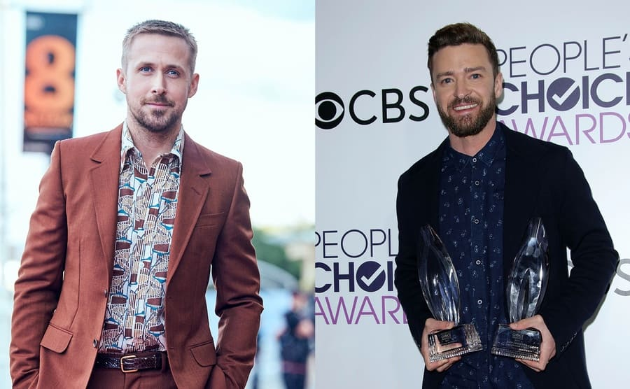 Ryan Gosling on the red carpet in 2018 / Justin Timberlake holding his People Choice Awards in 2017