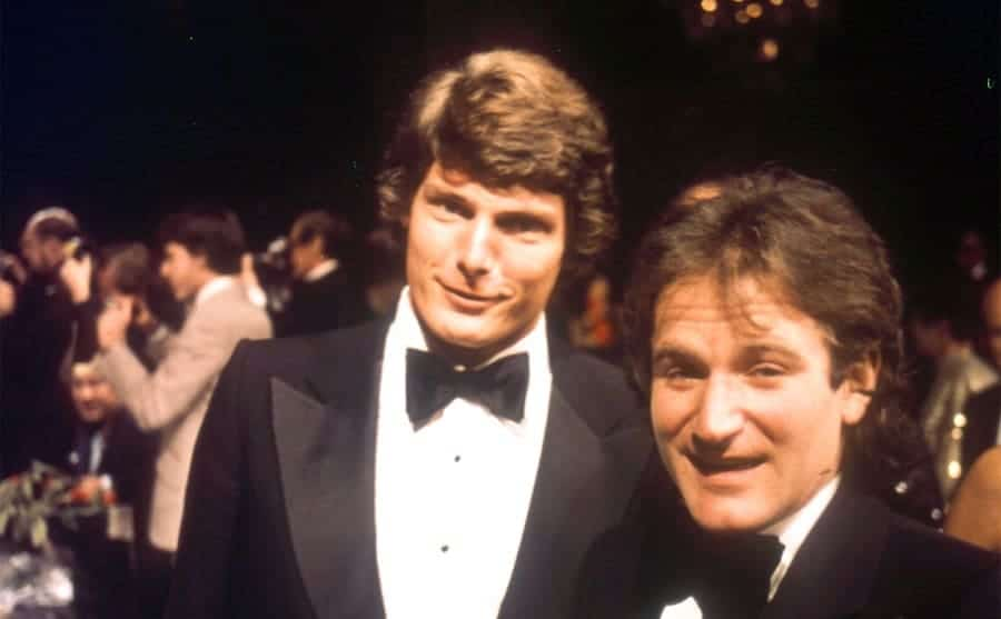 Christopher Reeve and Robin Williams at an awards ceremony 1980