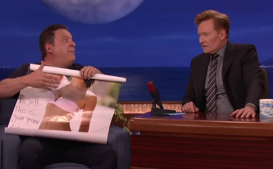 Jeff Garlin and Conan O'Brien on his late night show