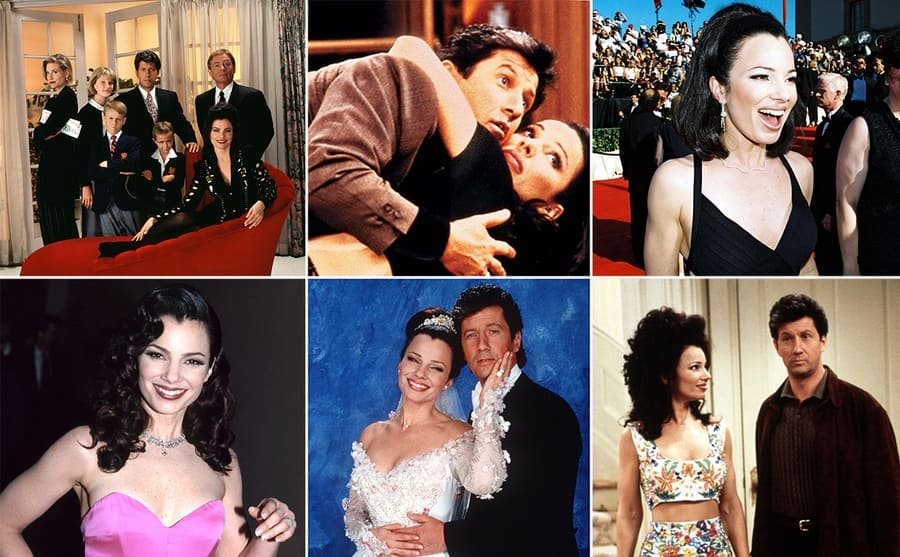 The cast of The Nanny season 1 posing together with Fran on a red chair with everyone standing around her / Fran Drescher and Charles Shaughnessy with small bags packed to go away in the Nanny / Fran Drescher and Charles Shaughnessy posing for a photo in their wedding wear / Fran Drescher in a pink strapless dress on the red carpet / Fran Drescher at the Emmy Awards