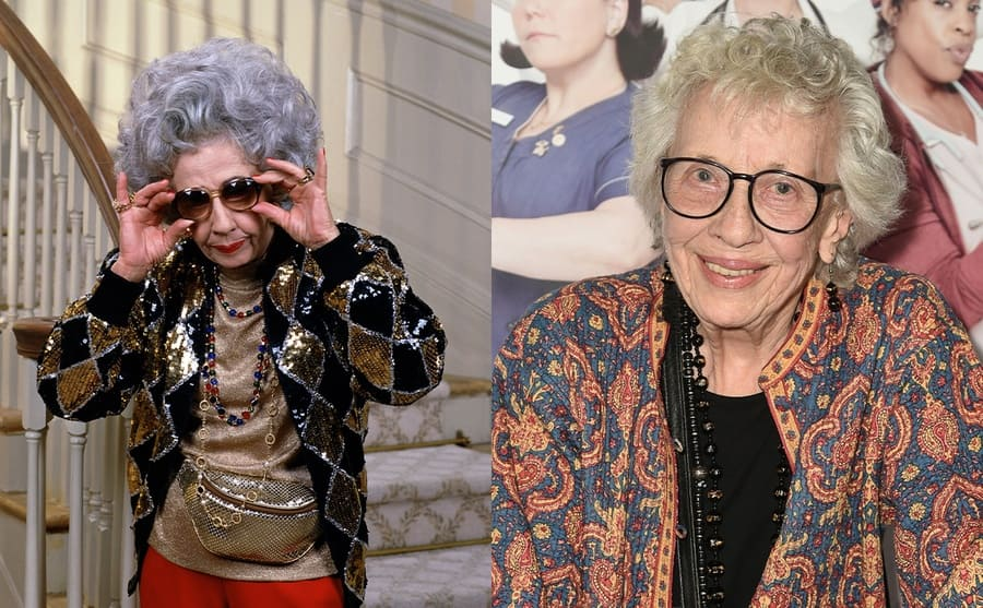 Ann Morgan Guilbert as Grandma Yetta with a gold and black sequined outfit in the show The Nanny / Ann Morgan Guilbert in 2014