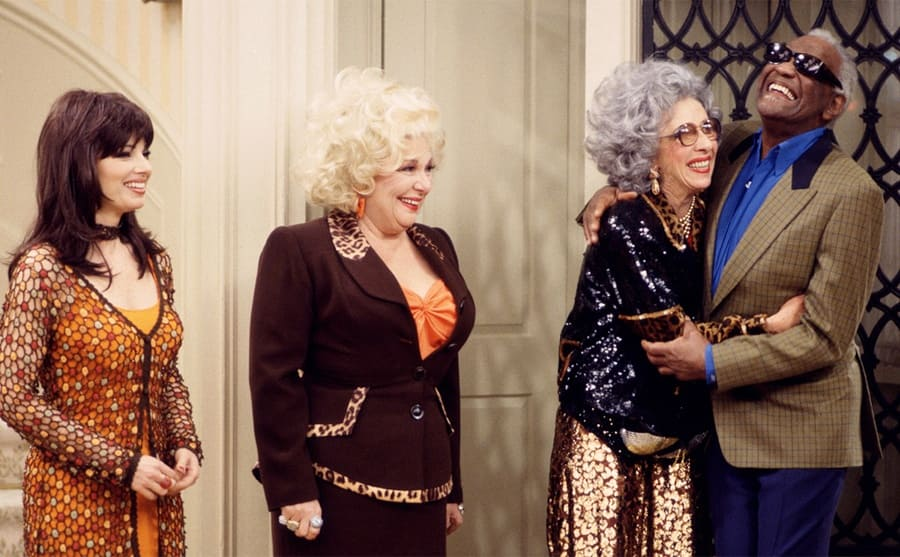 Fran Drescher, Renee Taylor, Ann Morgan Guilbert, and Ray Charles in an episode of The Nanny