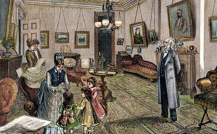 An illustration of Cornelius Vanderbilt and his family