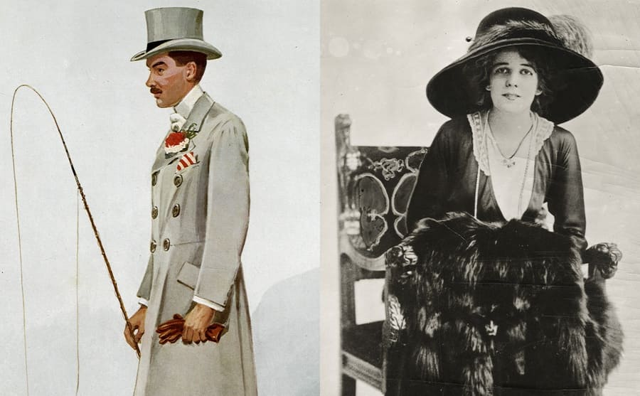 An illustration of Arthur Gwynne Vanderbilt Sr next to a photograph of his wife dressed in fancy clothing sitting in a chair