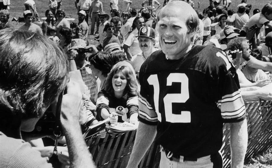 Terry Bradshaw at Steelers game during the 1970s