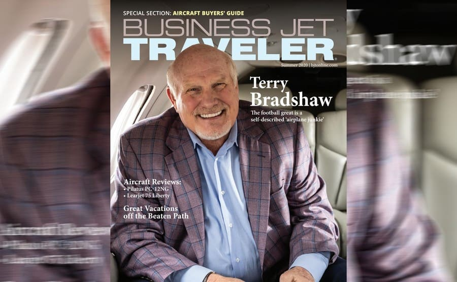 Terry Bradshaw on the cover of Business Jet Traveler magazine