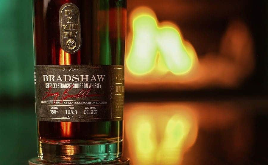 Bradshaw bourbon in front of a fire