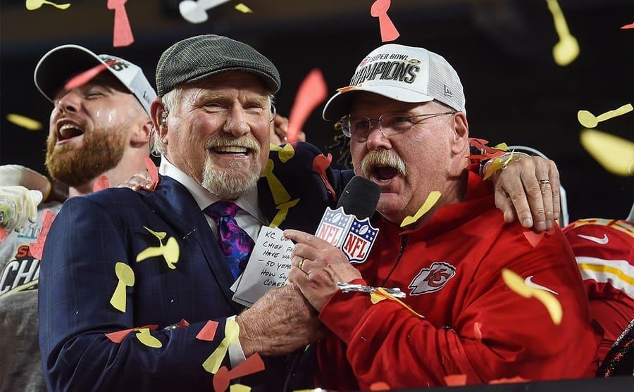 Fox Sports coverage of Super Bowl LIV, American Football, Miami, Florida, USA - 02 Feb 2020 - Terry Bradshaw, Andy Reid