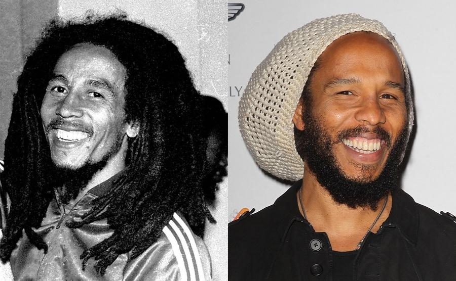 Bob Marley circa 1976 / Ziggy Marley on the red carpet in 2013