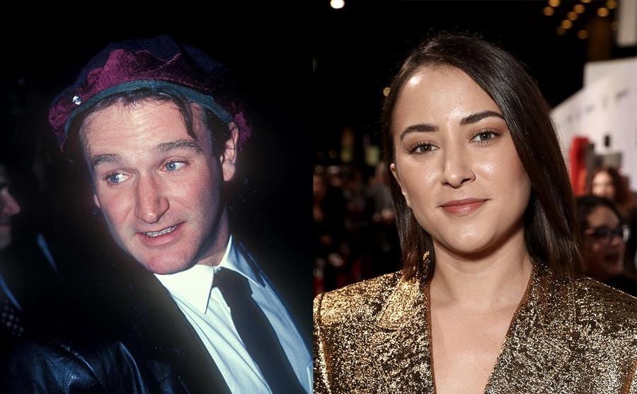 Robin Williams on the red carpet in 1979 / Zelda Williams on the red carpet in 2018