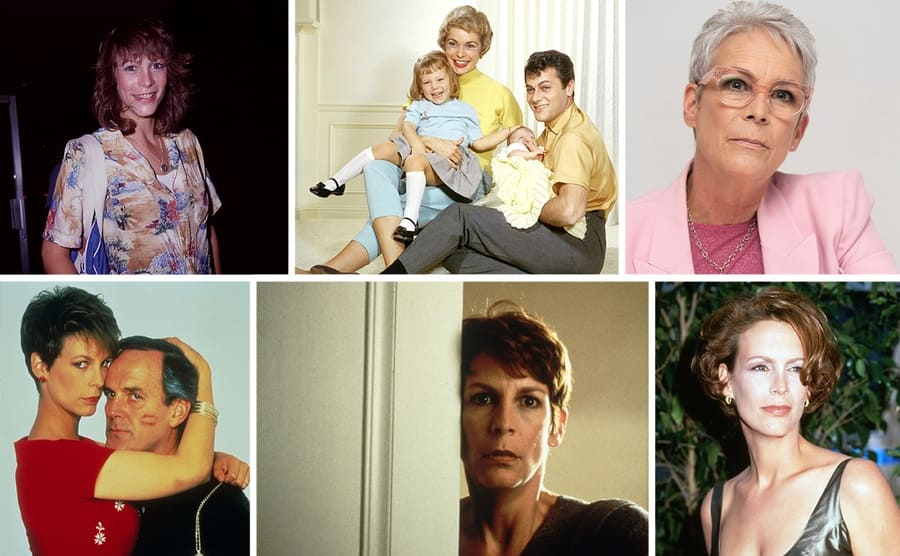 Jamie Lee Curtis on the red carpet at a young age / Jamie Lee with her parents and sister Kelly / Jamie Lee Curtis in all pink 2019 / Jamie Lee Curtis and John Cleese embracing in a scene from A Fish Called Wanda / Jamie Lee Curtis younger on the red carpet / Jamie Lee Curtis peeking out from behind a door in the film Halloween H20