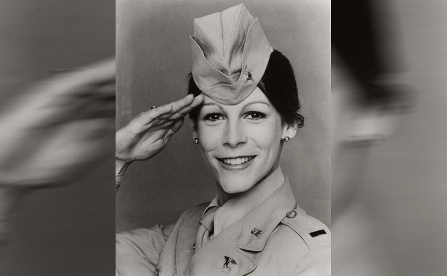 Jamie Lee Curtis in a military uniform in the show Operation Petticoat