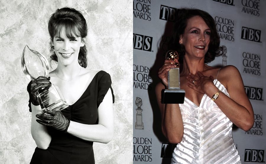 Jamie Lee Curtis holding a People's Choice Award in 1990 / Jamie Lee Curtis holding a Golden Globe Award in 1995