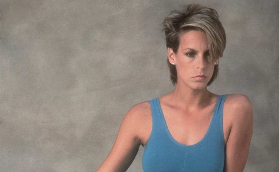 Jamie Lee Curtis in the film Perfect wearing a leotard