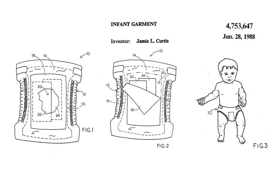 The patent for Jamie Lee Curtis' storage diaper