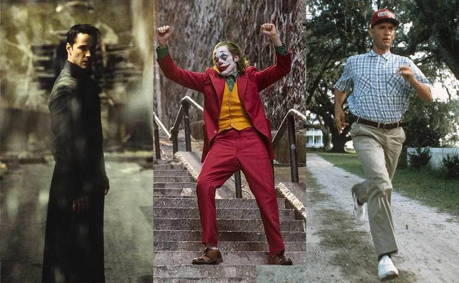 Keanu Reeves posing in a scene from The Matrix Revolutions / Joaquin Phoenix dancing on a long set of steps in the film Joker / Tom Hanks as Forrest Gump running down the path