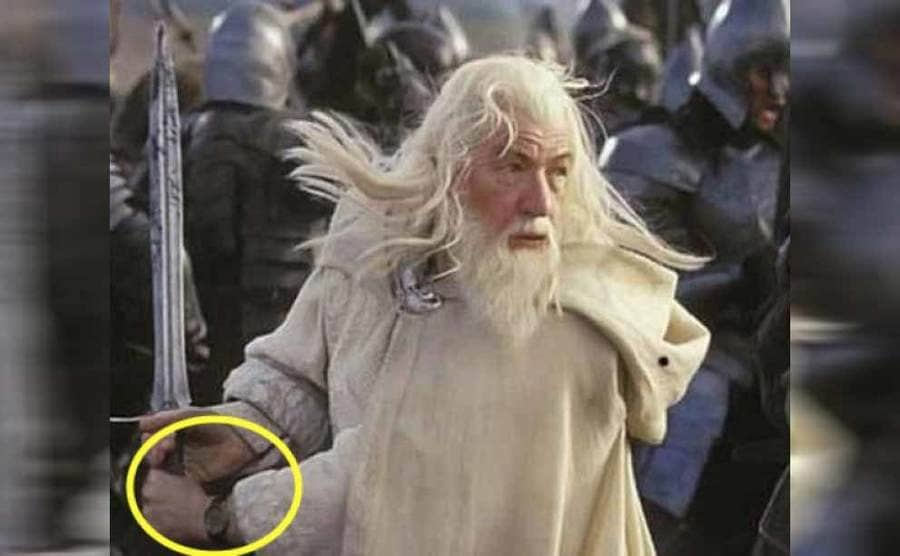 Gandalf mid-fight with a watch on
