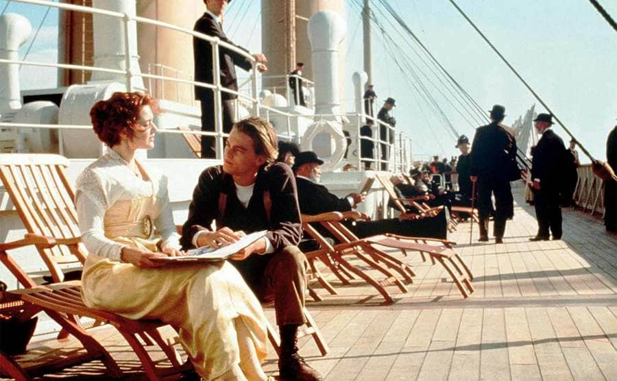 Kate Winslet and Leonardo DiCaprio on deck of the Titanic in the film Titanic