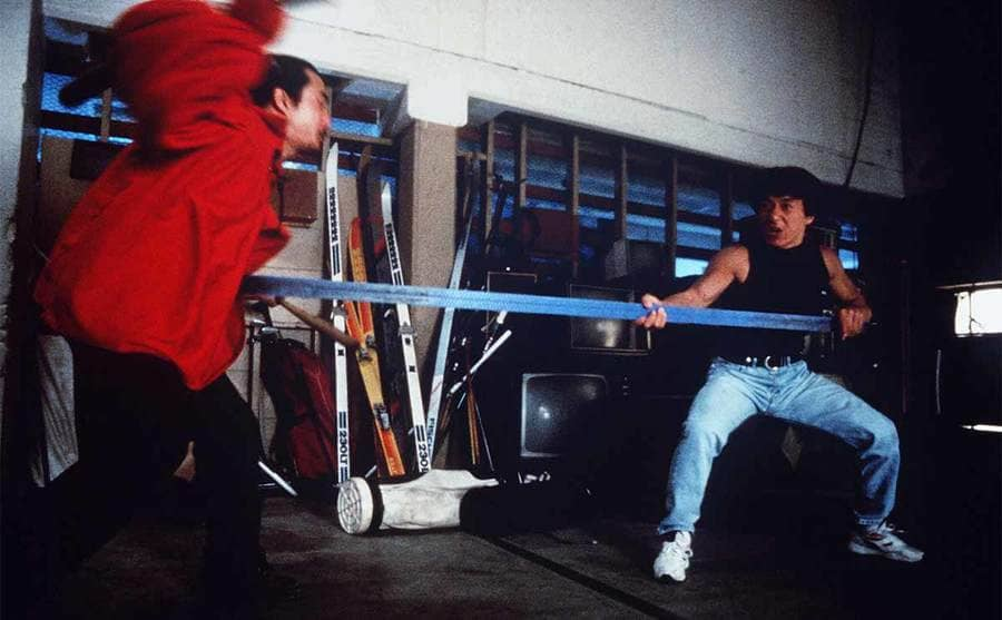 Jackie Chan during a fight scene in Rumble in the Bronx