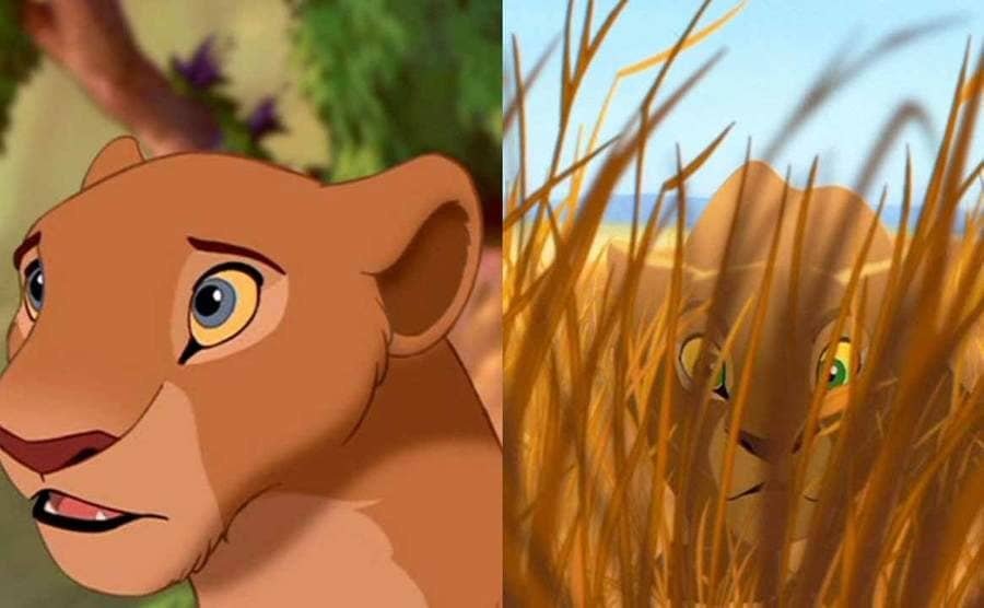 Nala from The Lion King in two different shots, one with blue eyes and one with green
