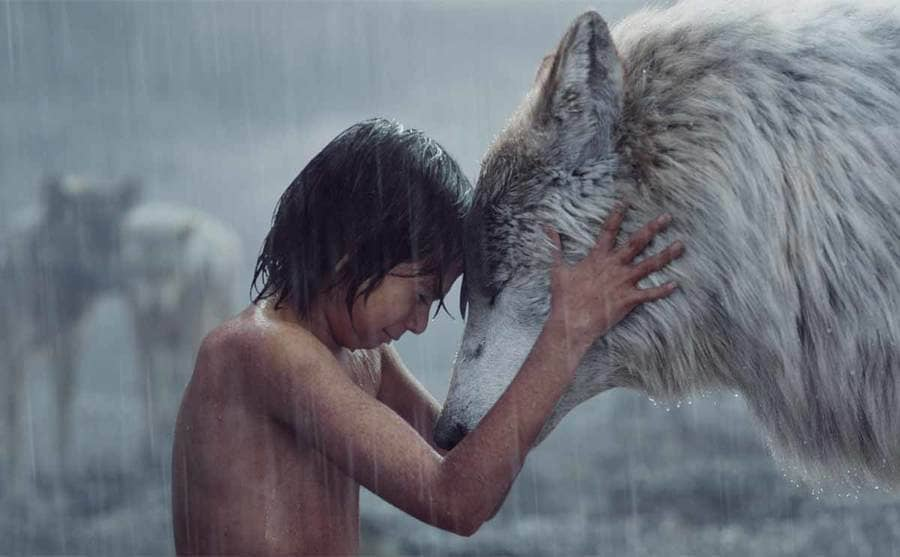 Neel Sethi and Lupita Nyong'O in a scene from The Jungle Book