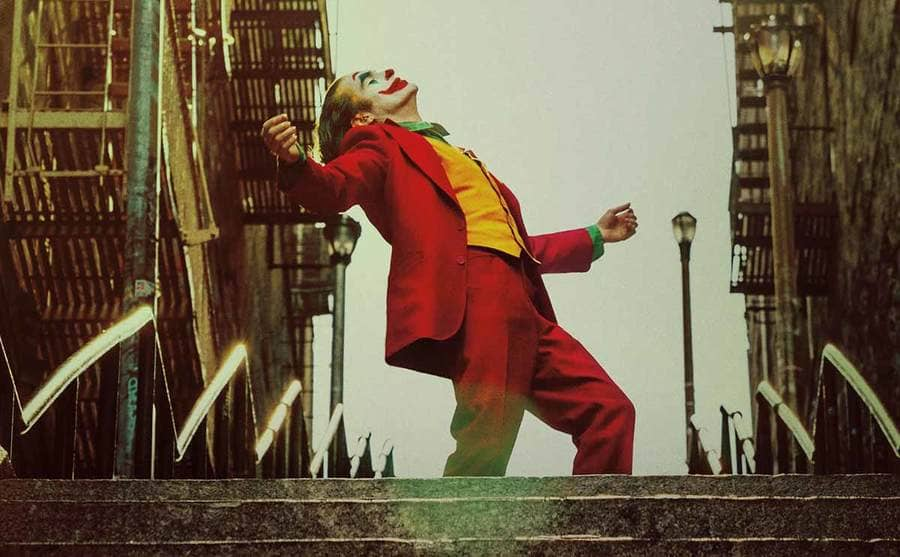 Joaquin Phoenix dancing on the steps in Joker