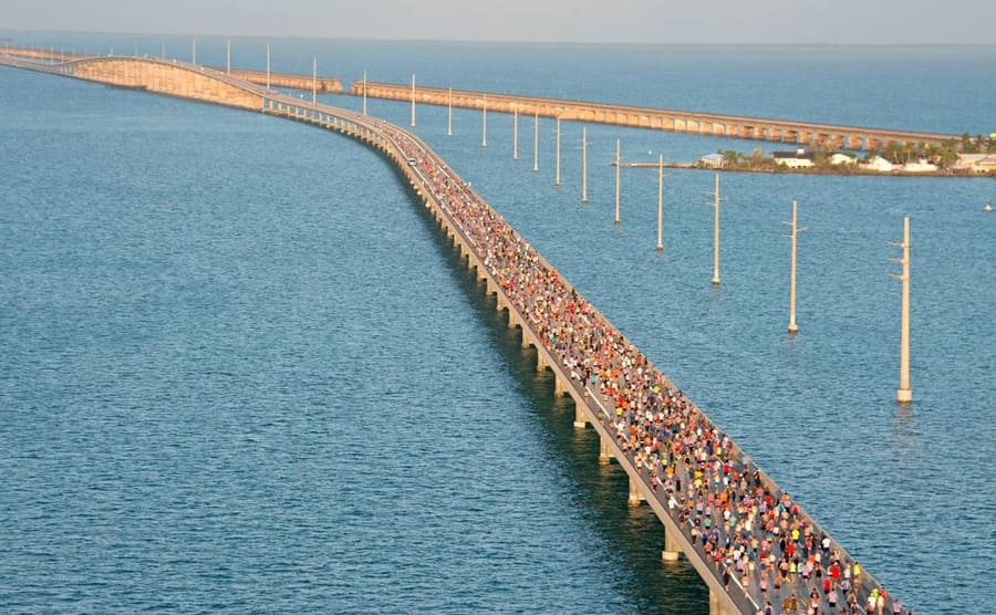Hundreds of people walking across the seven-mile bridge