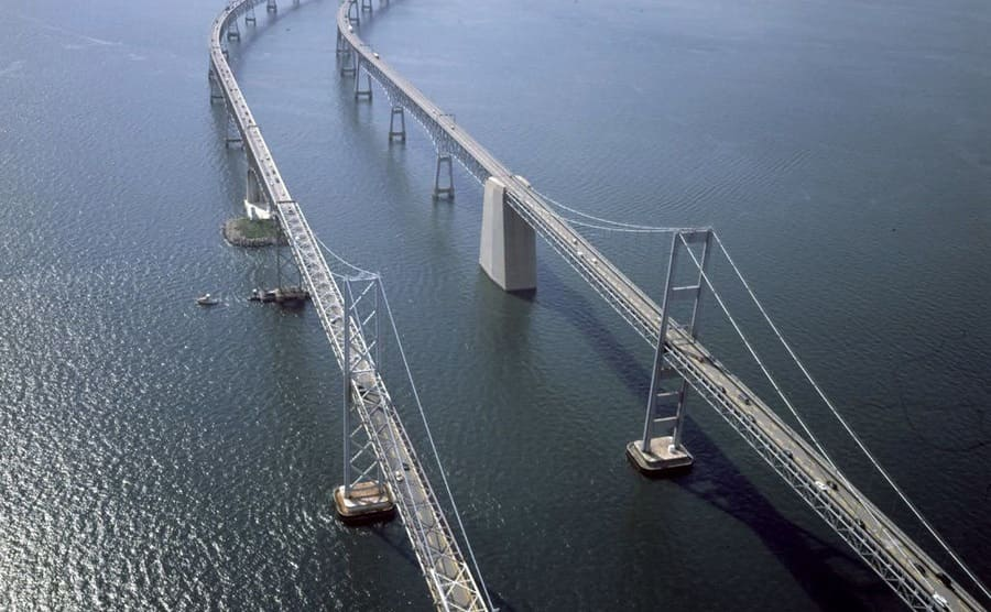 The two bridges which make up the Chesapeake Bay Bridge over the water