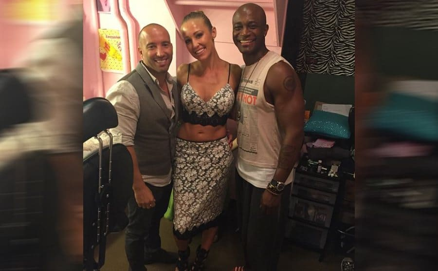 Jason, Mary, and Taye Diggs backstage at a Broadway show