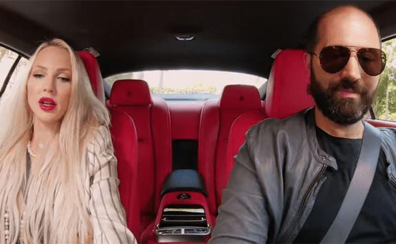 Christine Quinn and Christian Richard in a car