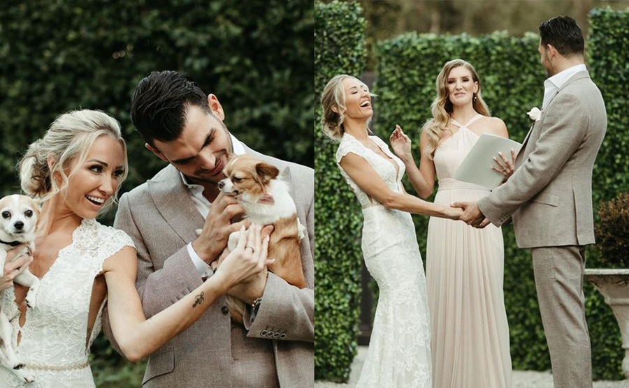 Mary and Romain on their wedding day holding their two dogs / Mary and Romain laughing on the alter while holding hands