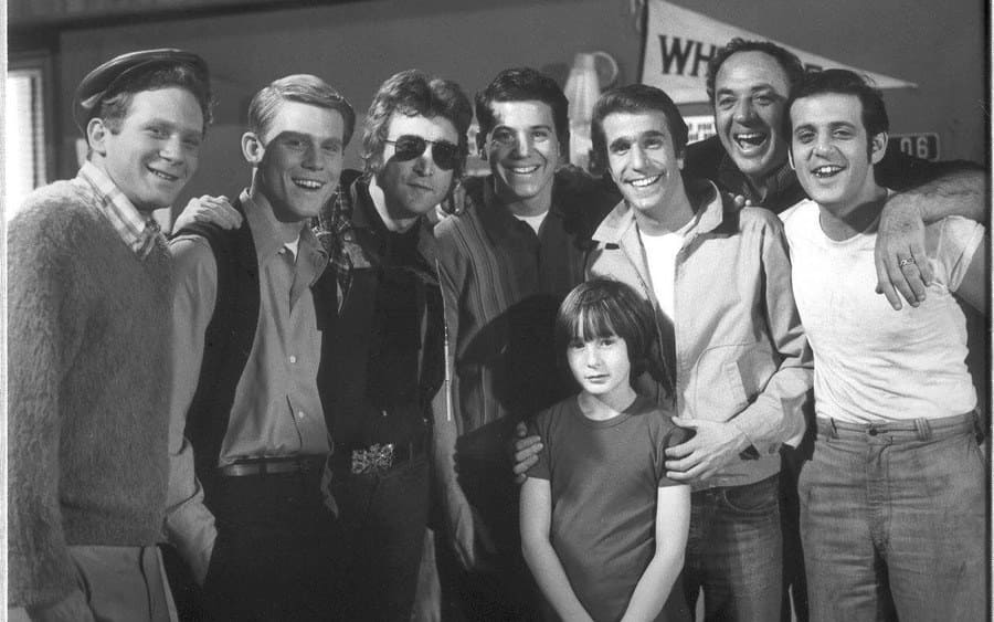 John Lennon with the cast of Happy Days.