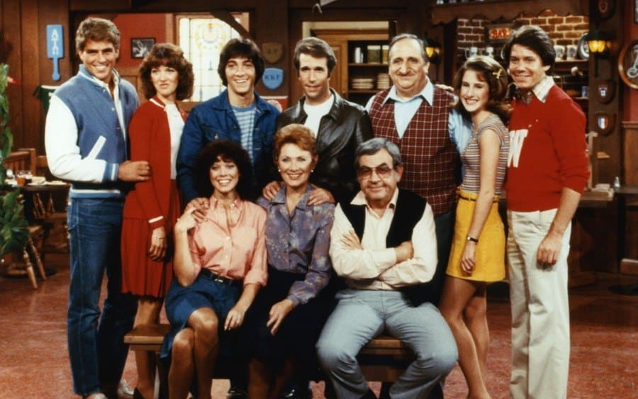 Ted McGinley, Erin Moran, Scott Baio, Marion Ross, Henry Winkler, Tom Bosley, Al Molinaro, Anson Williams Happy Days.