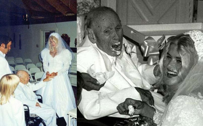 Anna Nicole Smith placing a ring on John Howard Marshall at the alter / Anna Nicole Smith feeding John Howard Marshall Cake on their wedding day