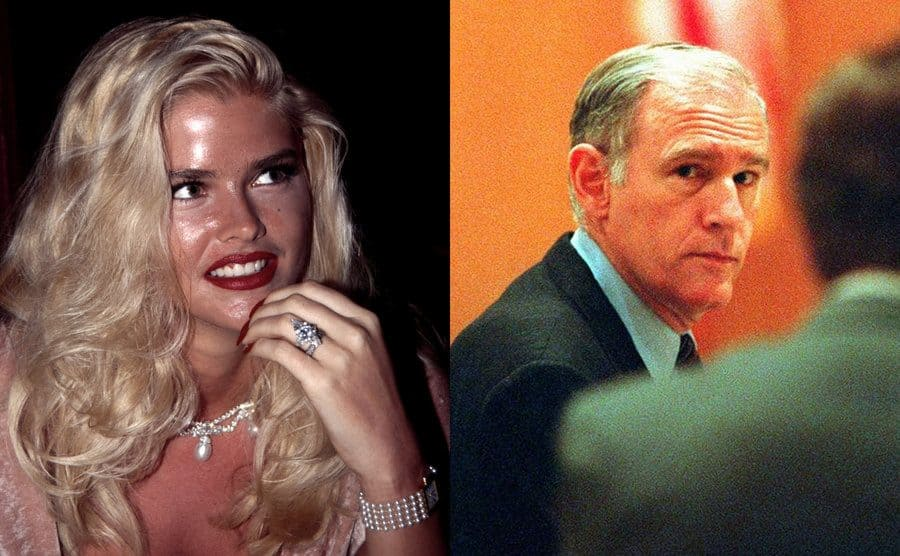 Anna Nicole Smith at the premiere of Jury Duty 1995 / E Pierce Marshall looking towards a camera