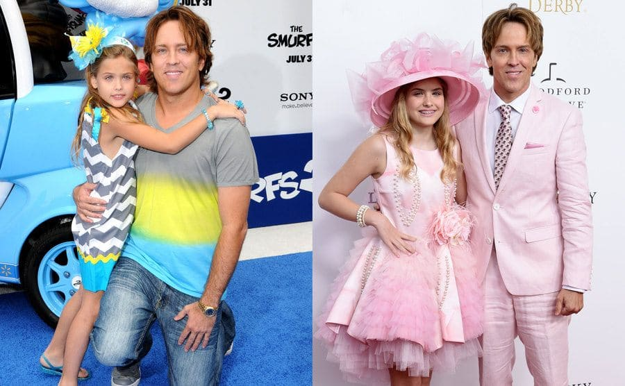Dannielynn and Larry Birkhead posing on the red carpet with Dannielynn was a younger girl / Dannielynn and Larry Birkhead posing on the red carpet