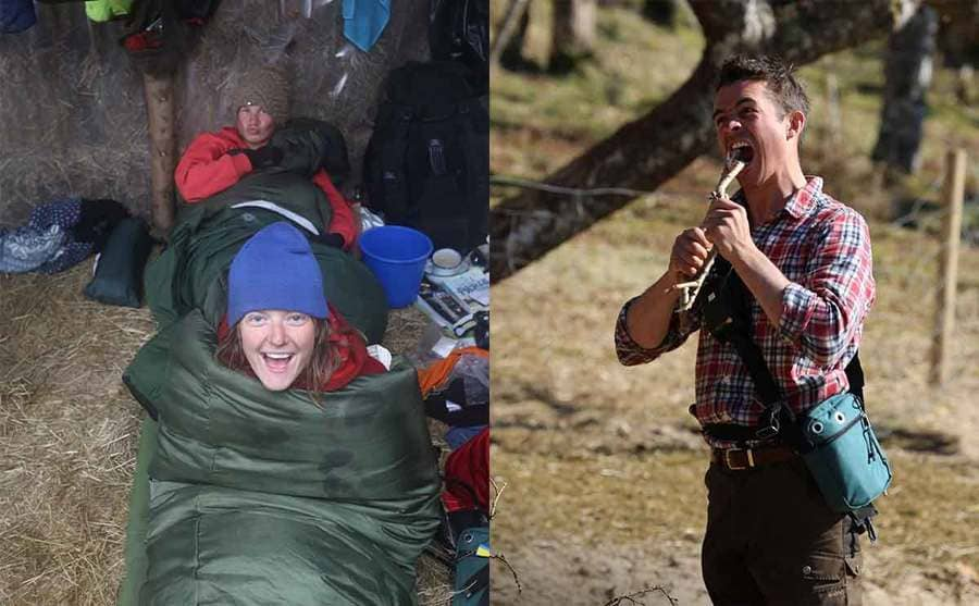 Two contestants in their sleeping bags / A male contestant about to take a bite out of a skinny tree branch
