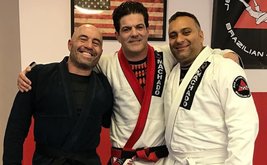 Joe Rogan, Russell Peters, and Jean Jacques Machado together wearing their Gi's