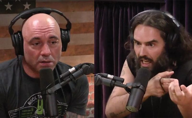 Joe Rogan and Russel Brand on his podcast