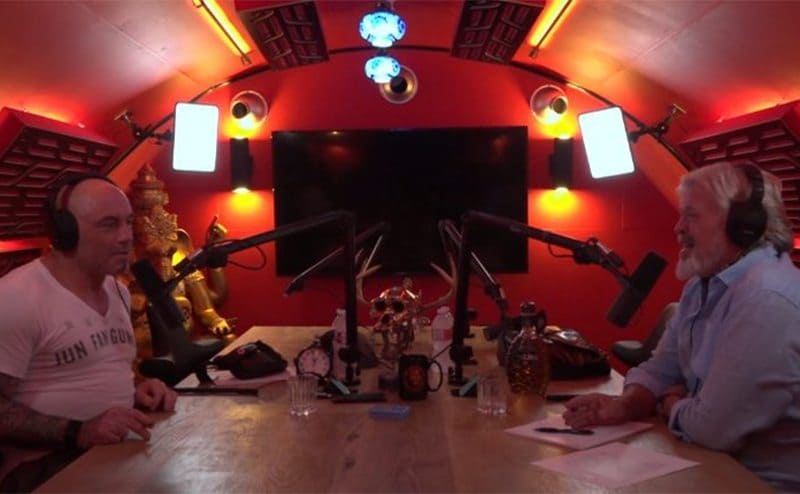 Joe Rogan interviewing a man in his new studio