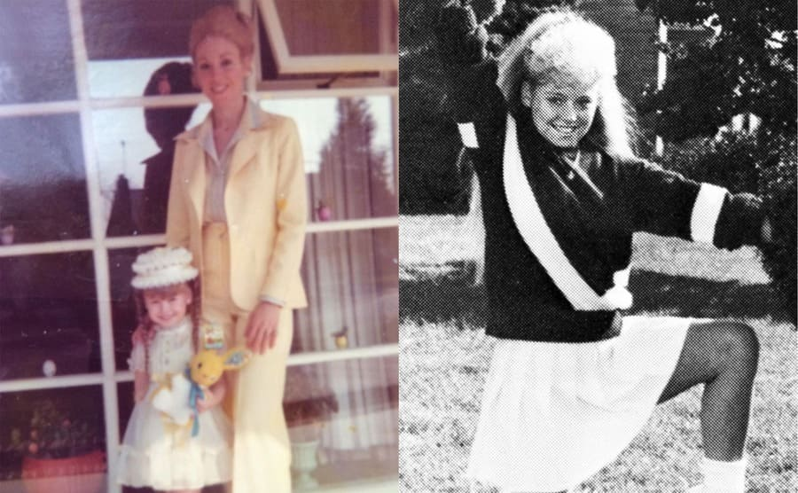 Kelly Ripa as a young girl with her mother / Kelly Ripa as a cheerleader in high school