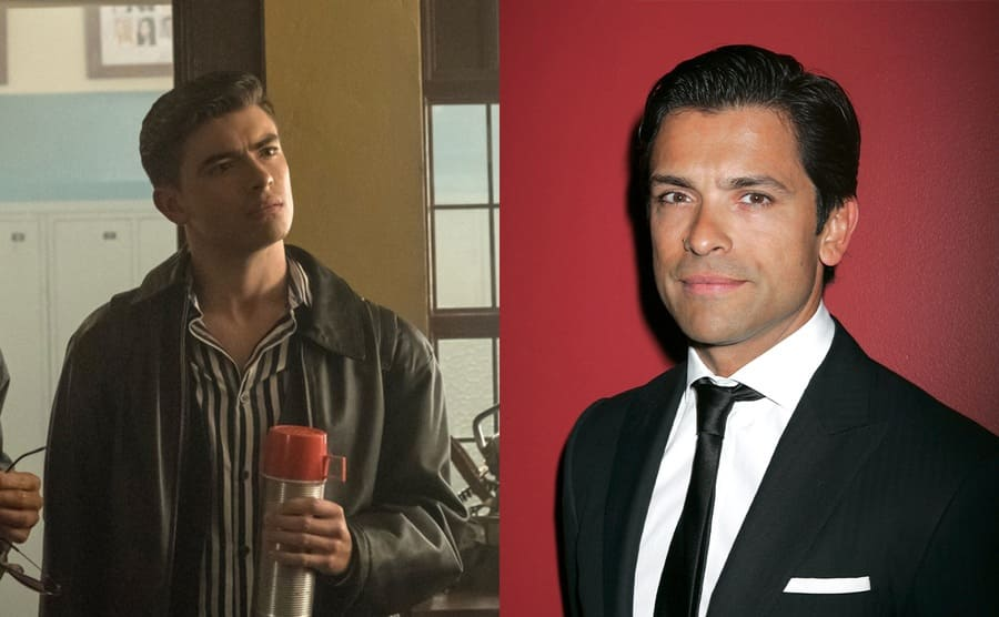 Michael Joseph Consuelos as the younger Mark in Riverdale / Mark Consuelos on the red carpet