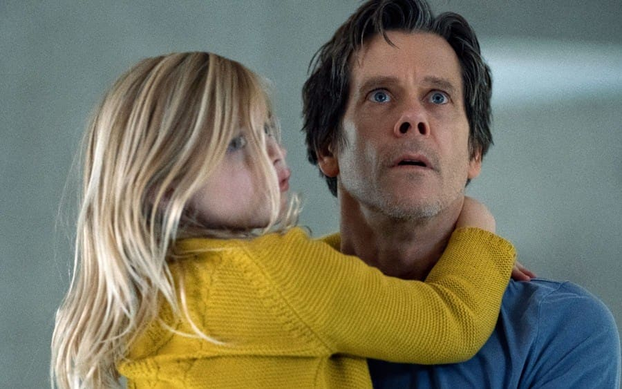 Avery Essex as Ella Conroy and Kevin Bacon as Theo Conroy