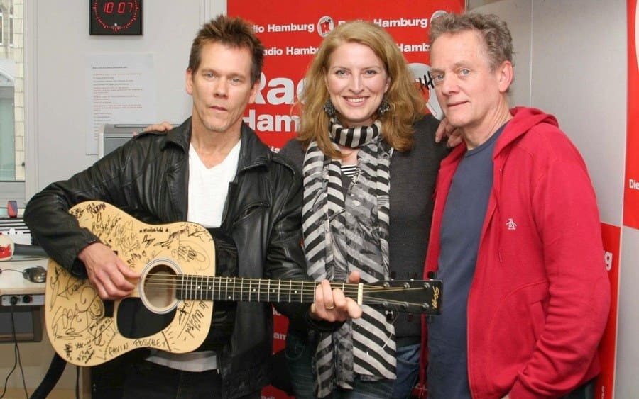 Kevin Bacon, radio host Birgit Hahn and Michael Bacon